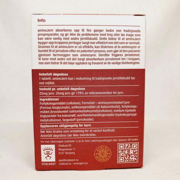 Bygge opp jernlager med AminoJern Ferrochel - Jernmangel - Jerntabletter - Bakside