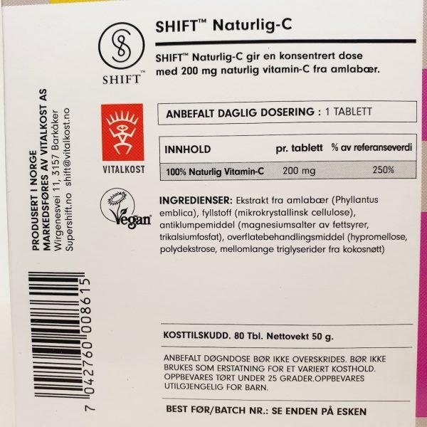 Naturlig og vegansk Shift Vitamin-C tilskudd- Naturlig-C fra Shift - zoom in bakside