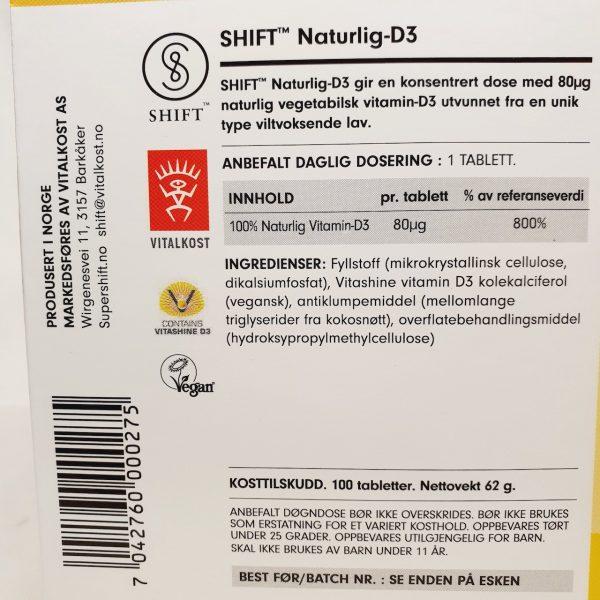 Naturlig og vegansk vitamin D3 fra Shift - Baksiden zoom inn