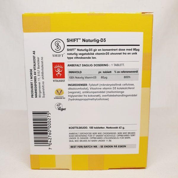 Naturlig og vegansk vitamin D3 fra Shift - Baksiden.jpg