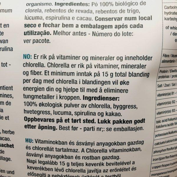 Organisk superfoods Total Detox pulver mix fra Purasana - baksiden på norsk