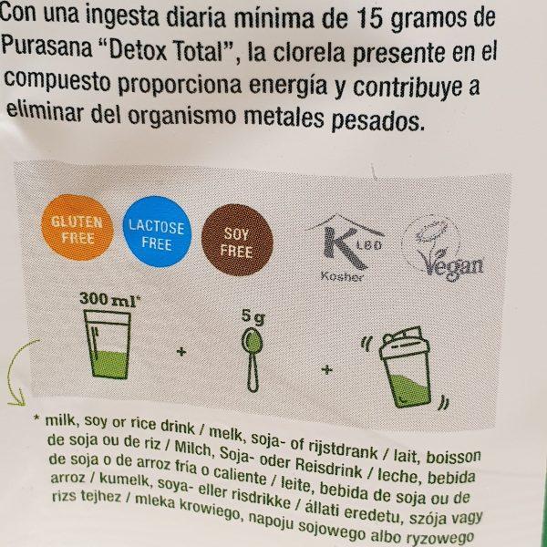 Organisk superfoods Total Detox pulver mix fra Purasana - baksiden zoom in