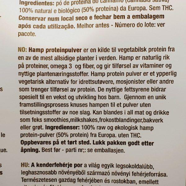 Organisk superfoods hemp protein pulver fra Purasana - på norsk - Baksiden