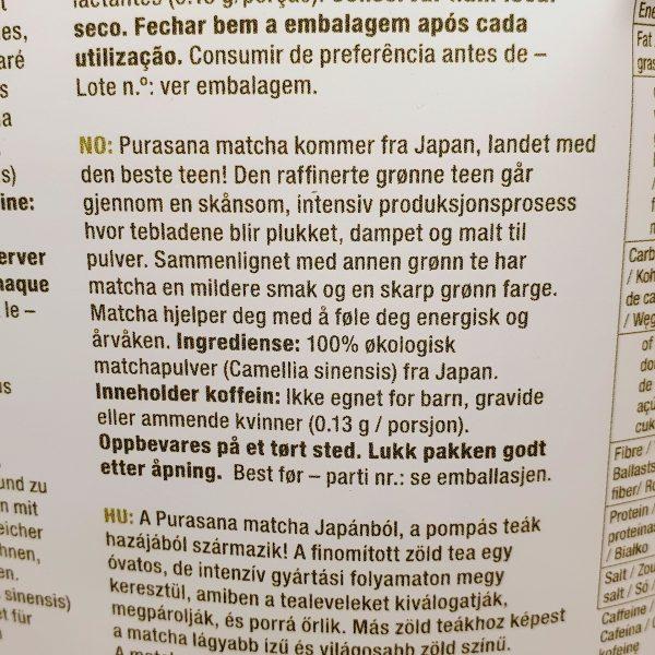 Organisk superfoods premium matcha pulver fra Purasana - Baksiden på norsk