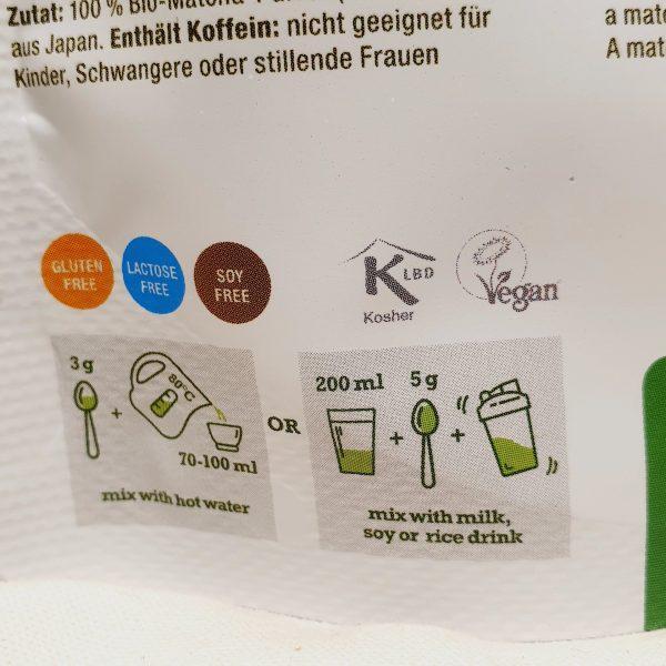 Organisk superfoods premium matcha pulver fra Purasana - baksiden - hvordan bruke