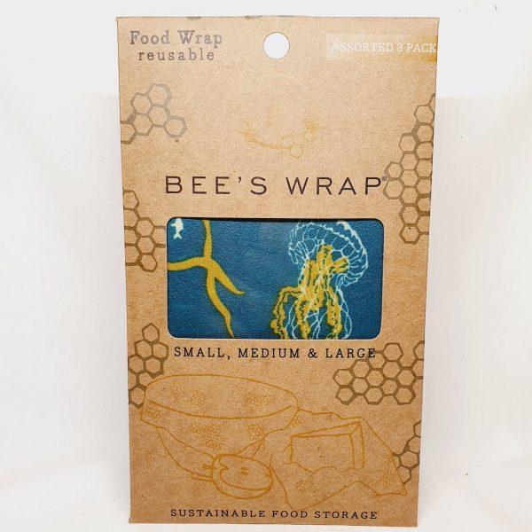 Bivokspapir 3 ark pakning ocean - Bee Wrappy beeswax wrap