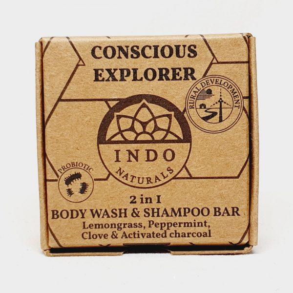Etisk og vegansk kroppsvask og hårvask med probiotika - sjampobar Concious Explorer fra Indo Naturals - Forside