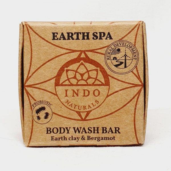 Etisk og vegansk kroppssåpe til kroppsvask Earth Spa - fra Indo Naturals - Forside