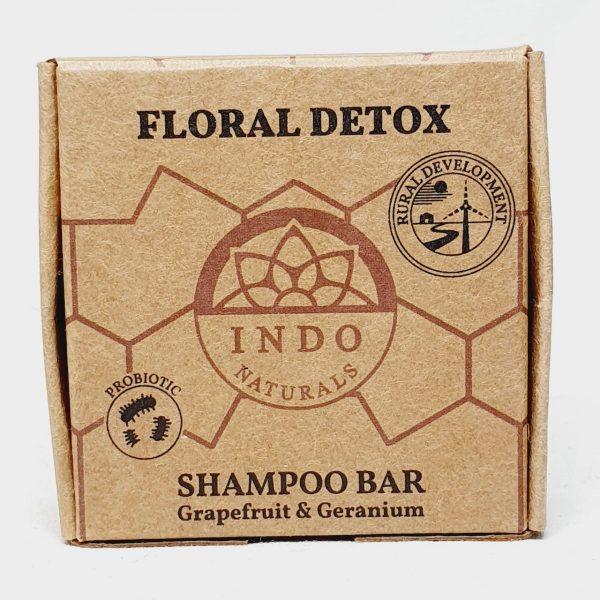 Etisk og vegansk sjampobar Floral Detox til alle hårtyper - fra Indo Naturals - Forside