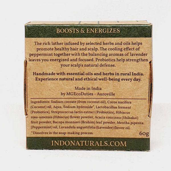 Etisk og vegansk sjampobar Herbal Refresh fra Indo Naturals - Bakside