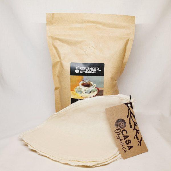 Pakke - Økologiske kaffebønner og økologiske kaffefilter - Miljøvennglige begge to