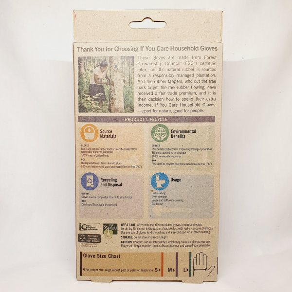 Resirkulerbare oppvaskhansker laget av naturgummi - If You Care hansker - Baksiden