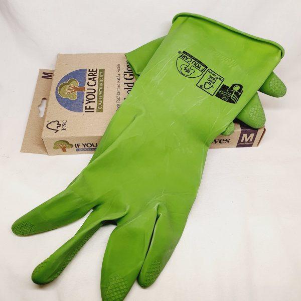 Resirkulerbare oppvaskhansker laget av naturgummi - If You Care hansker - Produktet