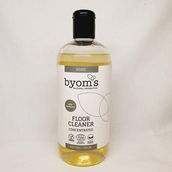 Vaske gulv med Byoms rengjøringsmiddel med probiotika - miljøvennlig og økologisk - forsiden