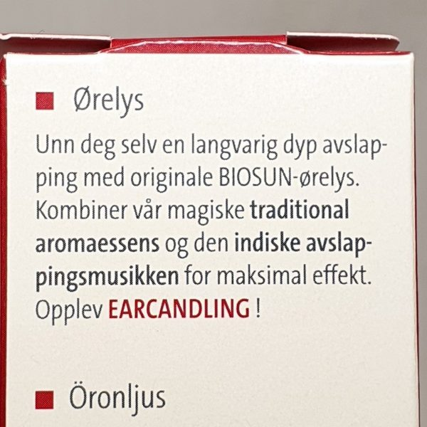 Biosun ørelys - bakside beskrivelse