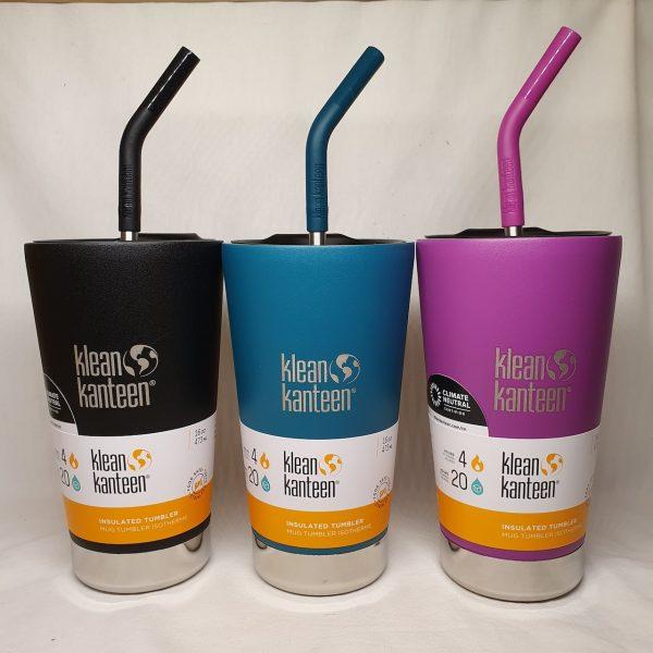 Isolert termokopp med sugerør fra Klean Kanteen - Tumbler 473ml - i tre farger