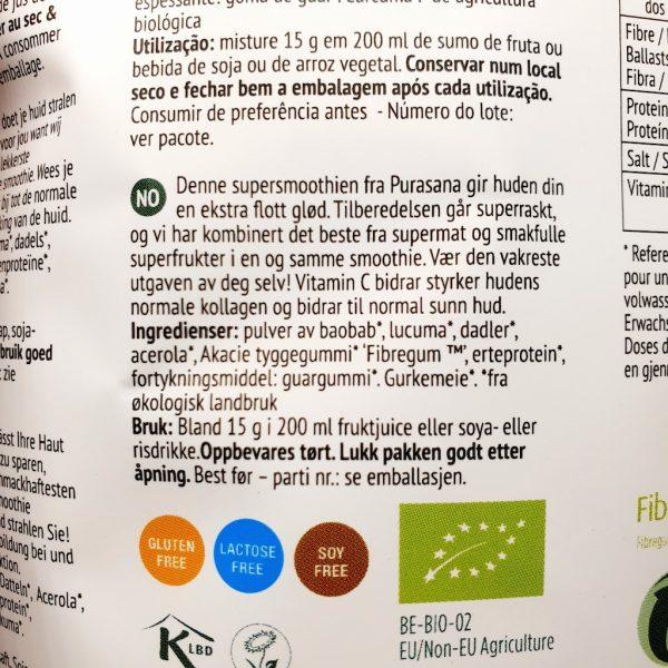 Økologisk og sunn beauty smoothie fra Purasana - Informasjon på norsk