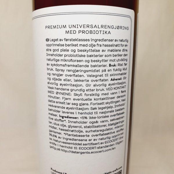 Probiotic Craft Multispray 500ml - En rengjøringsspray med probiotika som passer for alle flater - Detaljer på baksiden