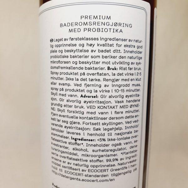 Probiotic craft Bathroom Cleaner - vask og rengjøring av bad med probiotika - Detaljer på baksiden
