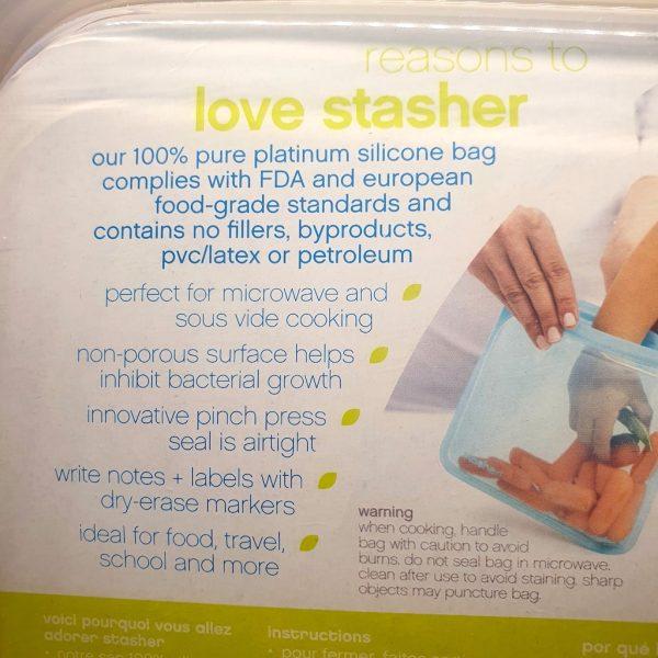 Stasher silikonpose Sandwich Space Animals 450 ml - Bakside 2 - Informasjon