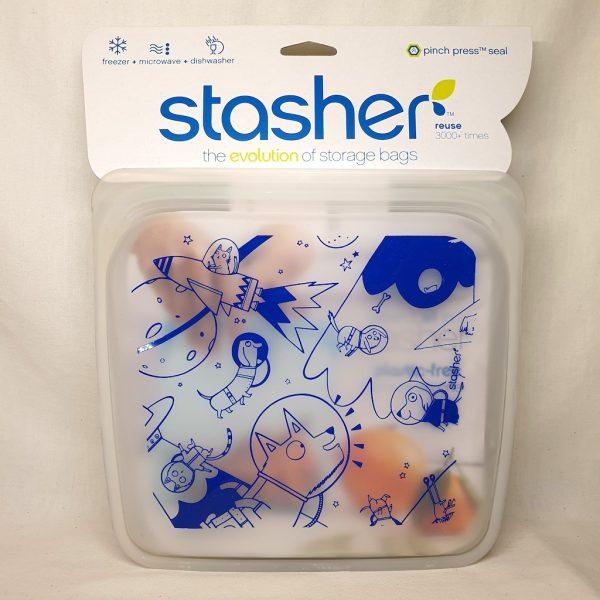 Stasher silikonpose Sandwich Space Animals 450 ml - Forside