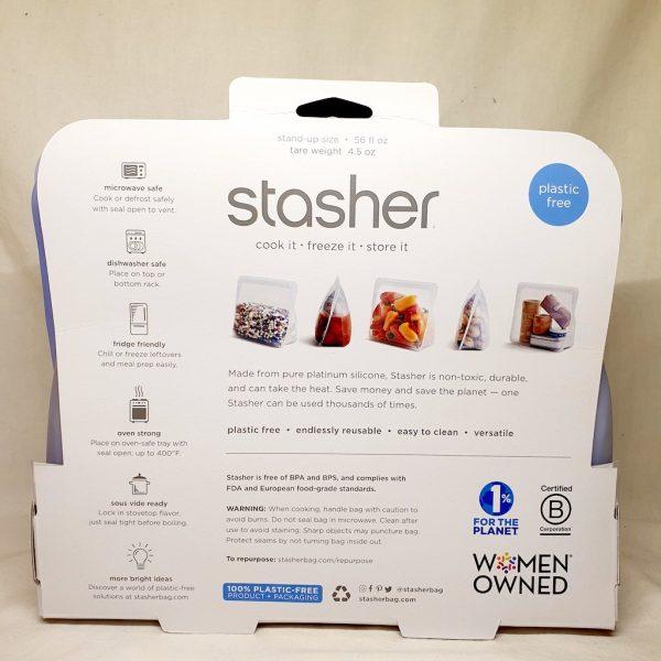 Stasher silikonpose stand up amethyst 1.6 liter - Bakside