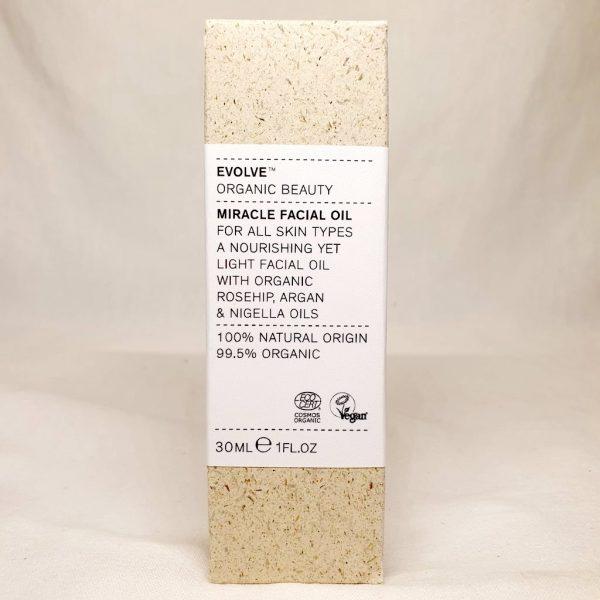 Økologisk ansiktsolje - EVOLVE Miracle Facial Oil 30ml - I eske - Forside